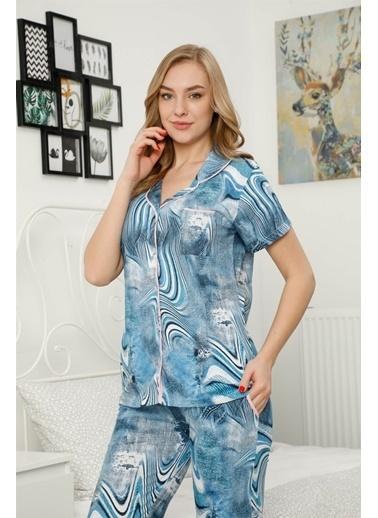 Akbeniz Kadın %100 Pamuk Önden Düğmeli Kısa Kol Pijama Takım 2812 Mavi